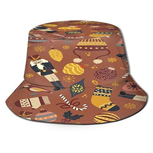 huagu Sombrero Pescador Unisex,Fondo de Navidad Vintage Vector Transparente,Plegable Sombrero de Pesca Aire Libre Sombrero Bucket Hat para Excursionismo Cámping De Viaje Pescar