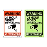 2 Pack Glow in Dark Video Surveillance Sign Outdoor Warning Sign | 7'x 10' Aluminum | Indoor Outdoor | Home Business CCTV Security Camera | Waterproof UV Protected | Red | by Famtec