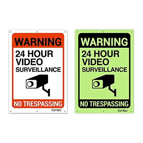 2 Pack Glow in Dark Video Surveillance Sign Outdoor Warning Sign   7