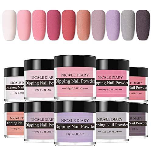 NICOLE DIARY DIP Nails Farbpulverset mit 10 Farben der Serie Nude Grey Dipping Nails Powder System für French Nail Manicure Nail Art Keine UV/LED-Nagellampe erforderlich