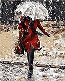 FBDBGRF Pintar por Número Mujer, Debajo, Paraguas para Adultos Y Niños DIY Kit De Regalo De Pintura Al Óleo con Juego De Pintura Digital para Decoración del Hogar Lienzos para Pintar