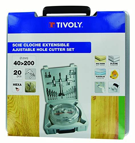 Tivoly XT50527052950 - Sierra de corona extensible (20 unidades, diámetro de 40 a 200 mm)