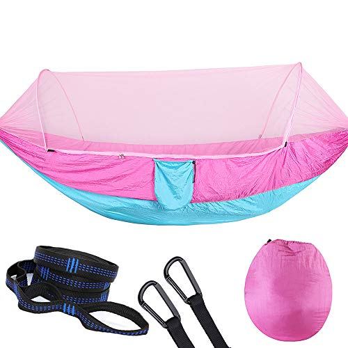 WintMing Camping Hammock with Mosquito Net 9.5 x 4.6ft Double Hammock with Tree Straps Carabiners Lightweight Portable for Travel Backpacking Outdoor (Pink)
