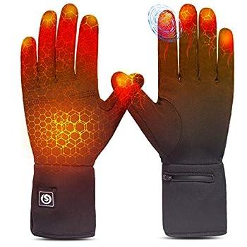 Sun Will Gants Chauffants Électriques Gants Hiver avec Batterie 7,4V 2200mAh pour Homme Femme Gants Chauffants Hiver pour Cyclisme Ski de Neige Pêcher Conduite Chasse Arthrite Maladie de Raynaud M-L
