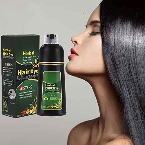 Champú para oscurecer el cabello de 10 minutos,500ML Champú Cabello Negro,para teñir el cabello rápido para cabello negro,Tinte para el cabello instantáneamente negro,Black Hair Shampoo