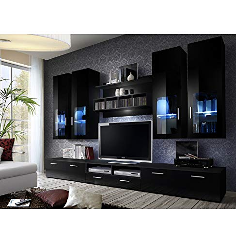 ASM Ensemble Meuble TV Mural - Lyra Night - 300 Cm X 190 Cm X 45 Cm - Noir