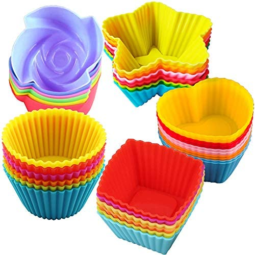 Silicone Cupcake Baking Cups Reusable Muffin Liners Food Grade BPA Free Non stick Cake Molds product image