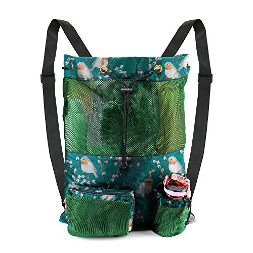 Mesh Drawstring Bag Backpack Swimming Pool Gymsack 1 Piece Heavy Duty Lightweight Net Sinch Sackpack for Unisex Sports Workout Green Cute Animal Bird Printed