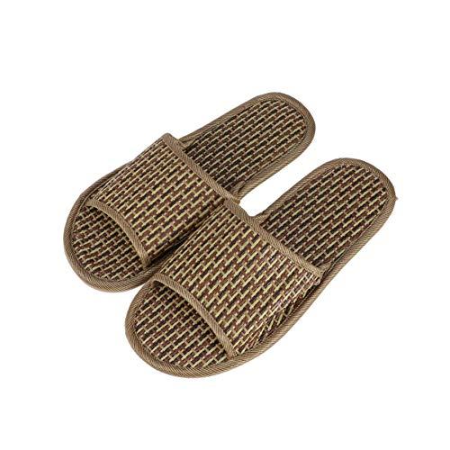 TENDYCOCO Bambus Stroh Hausschuhe Open-Toe Flip Flop Sandale Indoor Outdoor Hausschuhe für Männer Frauen (42/43)