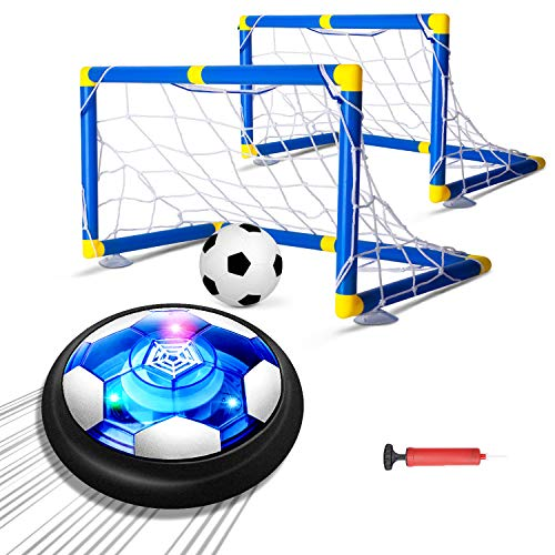 AOKESI Kids Toys Hover Soccer Ball Set,Rechargeable Air Soccer with 2 Goals, Ball Toy with LED Light and Soft Foam Bumpers for Indoor Games, Best Gifts for Toddlers,Boy and Girls