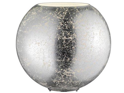 Design Tischleuchte Kugellampe mit Filament LED Leuchtmittel Glasschirm Silber Ø 28cm, exklusive Dekoleuchte
