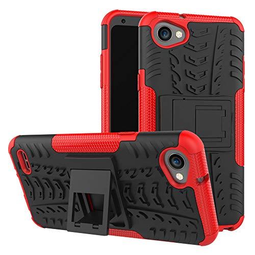 Capa para LG Q6, JYZR resistente, camada dupla 2 em 1, resistente, resistente a impactos, capa traseira rígida com suporte para LG Q6 - vermelha