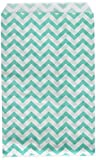 200 pcs Turquoise Chevron Paper Gift Bags Shopping Sales Tote Bags 6' x 9' Zig Zag Design-Caddy Bay Collection