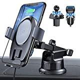 VANMASS 15W Wireless Car Charger Mount, World Leading Electric Automatic Clamping Dashboard Air Vent Windshield Phone Holder, Fast Charging Compatible iPhone 12 11 Pro Max Xs X,Samsung S20 S10 Note10