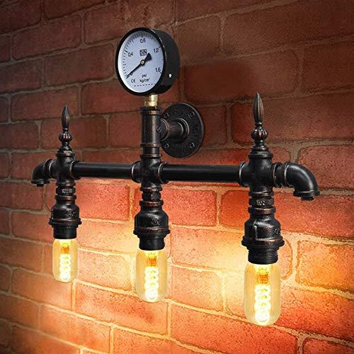 Pared luz rústica industrial tubería de agua escono vintage steampunk metal 3 lámpara, para bar, cafetería, escaleras, pasillo, pasillo, pasillo, eflemento de enchufe E26 / E27 [Clase de energía A +++
