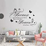 Supzone Because Someone We Love is in Heaven Wall Decals Flowers Quotes and Sayings Butter...