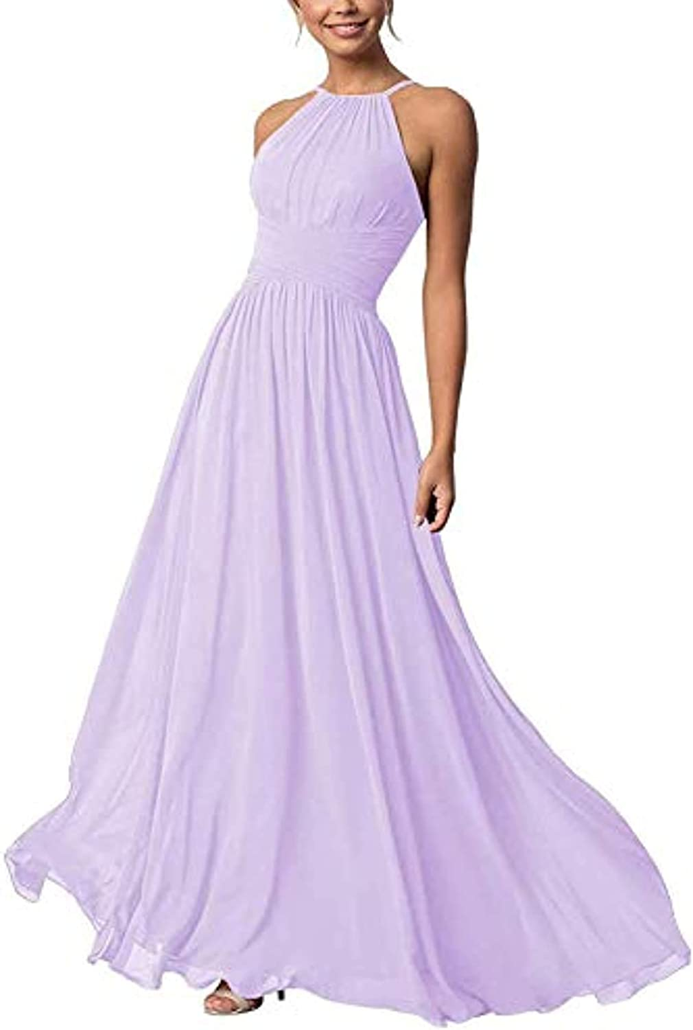 NOVIA Bridesmaid Dresses for Wedding Long Chiffon Pleated Formal Evening Gowns for Women