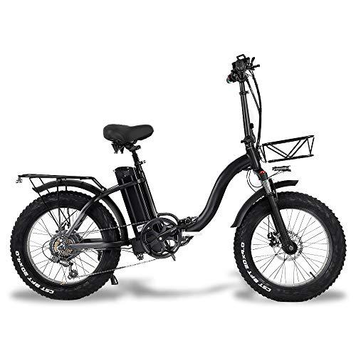 CMACEWHEEL Y20 Bici da Neve elettrica Pieghevole, Motore 750W, Batteria da 48V 15Ah, Bici da 20 Pollici per Mountain Bike, Bici a pedalata assistita con cestello (15Ah)