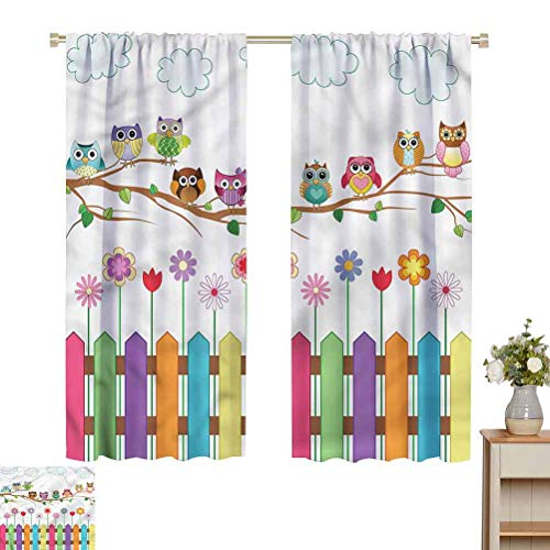 Owls Blackout Curtains in Living Room Kitchen Bird on Branch Sunny Day Kitchen/Bedroom Window Treatments Home Decoration W52 x L39 Gifts for Best Friend