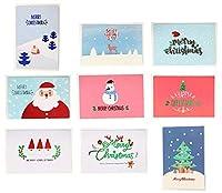 A-Focus クリスマスカード 9枚セット【15X10CM】 9種類のクリスマス飾り クリスマスメッセージカード 封筒付き 15CMX10CM 9枚