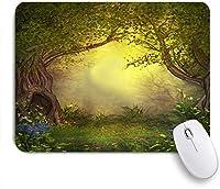 TARTINY ゲーミング マウスパッド,ミスティックフォレストツリーエンチャントフォレストファンタジー自然の風景フラワーグリーンジャングル,マウスパッド マウス対応 マウスパッド おしゃれ ゲームおよびオフィス用 滑り止め 防水 PC ラップトップ