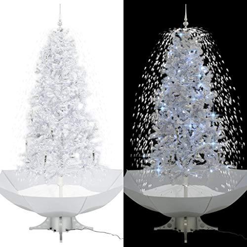 UnfadeMemory Schneiender Weihnachtsbaum Tannenbaum mit Schirmfuß Künstlich Christbaum Weihnachtsbaumschmuck Dekoration mit Kugeln und Lichtern (Weiß, Gesamthöhe 190 cm)