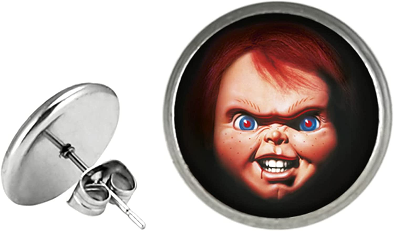 Chucky Face Horror Halloween Earrings St Stud Cosplay Metal Ear Super sale Ranking TOP13