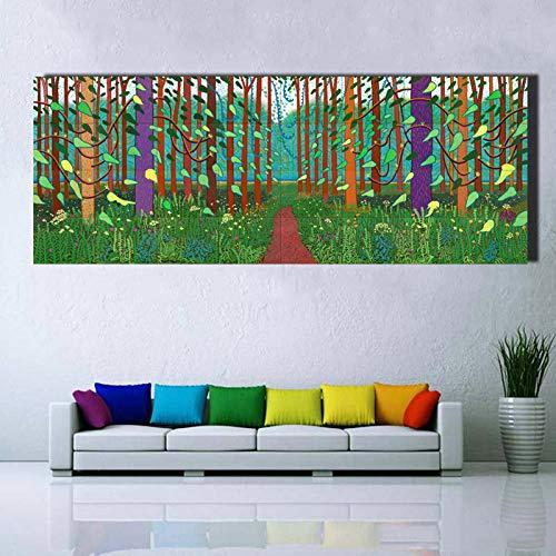 mmzki David Hockney Baum und Blume Große Leinwand Malerei Riesige Poster Wandkunst Druck Für Wohnzimmer Schlafzimmer Landschaft Bilder
