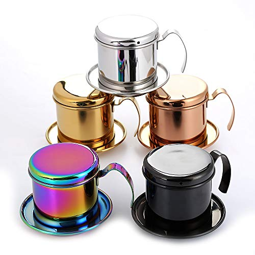 Edumarket241 Realand Top Stainless Steel Vietnam Coffee Pour Over Dripper Maker Filter Single Cup Brewer Press Percolator Home Outdoor Use