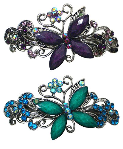 Set of 2 Bella Butterfly Barrettes Hair Clips for Women and Girls 0053-2purple/aqua
