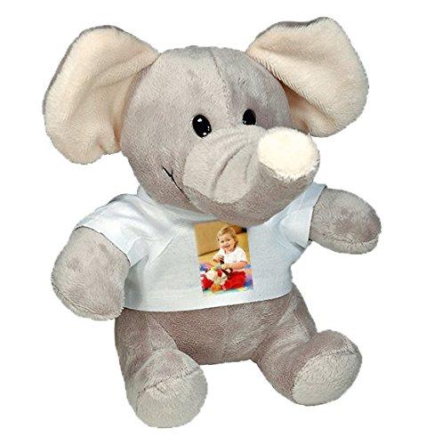Stofftier Elefant mit persönlichem Foto zum selbst gestalten (kuschliger Grauer Plüsch, weißes T-Shirt mit individuellem Foto Bedruckt, Thermo-Sublimationsdruck, Kuscheltier
