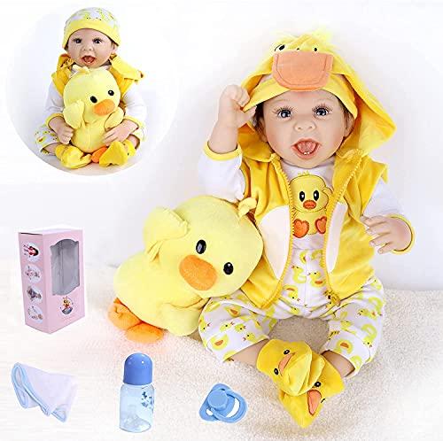 Bambole Reborn Maschio 22 Pollici 55 cm Reborn Bambino Bambola Reborn Silicone Vinile Realistica del Giocattolo Contiene...