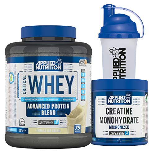 Applied Nutrition Bundle Critical Whey Protein Powder 2.27kg + Creatine Monohydrate 250g + 700ml Shaker | Gold Standard Muscle Building with Glutamine, Amino Acids, BCAA (Vanilla Ice Cream)