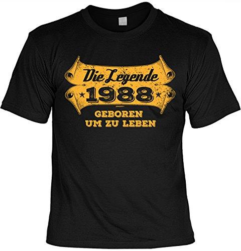 Rahmenlos - Camiseta con texto en alemán 'Die Legende 1988 Geboren um zu Leben', diseño con texto en alemán Negro XL