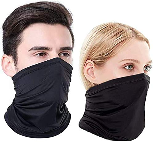 (2Pack) Neck Gaiter Face Cover Scarf Gator Face Mask for Cold Wind Dust - Reusable Balaclava Bandana for Men Women - 12 Ways to Wear,Ideal for Fishing Hiking Running Cycling Multifunctional Mask