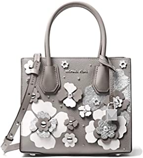 MICHAEL Michael Kors Crossbody Bag Mercer Floral Embellished Leather Crossbody Bag - Pearl Grey