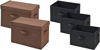 [山善] ふた付き 収納ボックス 幅38×奥行25×高さ25cm 取っ手付き カラーボックス対応 完成品 ブラウン 2個組 YTCF-2PF(BR) & どこでも収納ボックス(3個セット) ブラック YTCF3P-(BK)【セット買い】