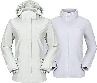 CAMEL CROWN Women's Ski Jacket Waterproof 3 in 1 Winter Jacket Windproof Hooded with Inner Warm Fleece Coat