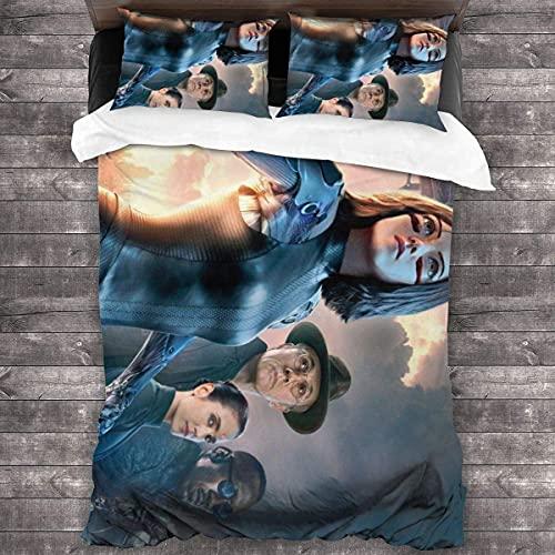 Alita - Set di biancheria da letto 'Battle Angel', leggero, morbido e traspirante, con chiusura lampo, 140 x 210 cm + 80 x 80 cm x 2)