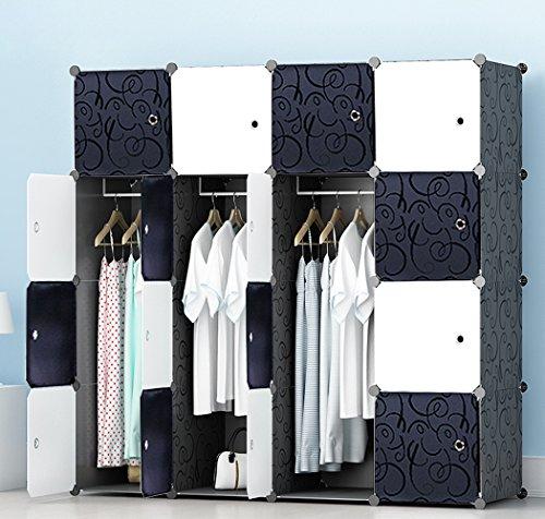 JOISCOPE Guardaroba, Armadio Portatile per Camera da Letto, Scatola di immagazzinaggio, Armadio componibile in plastica con pensili, Nero e Bianco(16 cubi)