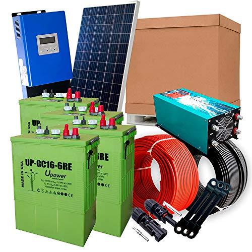 Solar-Kit 12 V 1.800 W / 9.000 W Tag + 12 Panels + Laderegler MPPT 60 A + 4 Akkus UP-GC16 600 Ah + Wechselrichter 5000 W reine Welle mit Ladegerät 80 Ah