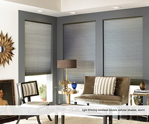 First Rate Blinds Custom Cordless Double Cell Shades, 28W x 38H, Ivory