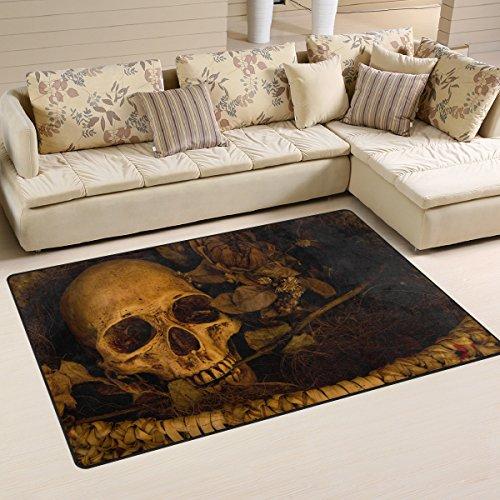 Use7 Teppich mit Totenkopf-Motiv, rutschfest, für Wohnzimmer, Schlafzimmer, 100 x 150 cm