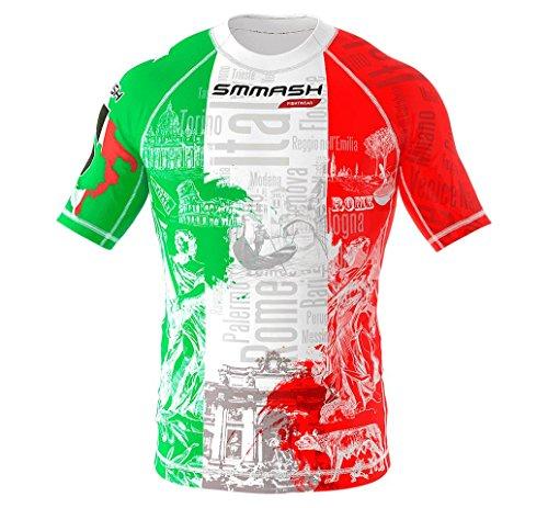 SMMASH Italy Rashguard Hombre Manga Corta, Camisetas Hombre para MMA, Artes Marciales,...