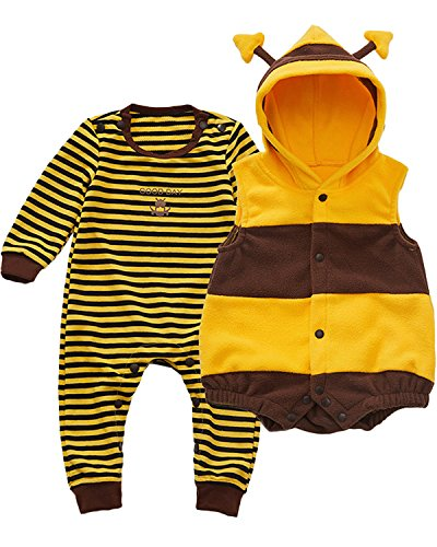 Kidsform Unisex Baby Langarm Bodysuit Overalls Jumpsuit Playsuits Kleidung Set mit Weste Yellow 12-18M
