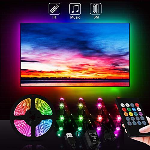 Zorara LED Strip 3m, LED TV Hintergrundbeleuchtung USB mit Fernbedienung LED Streifen TV SMD 5050 RGB Dimmbar IP65 Wasserdicht LED Band Sync mit Musik für 46-65 Zoll Fernseher Beleuchtung