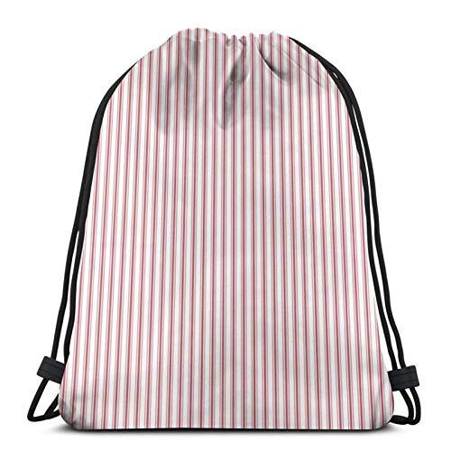 Zaino con coulisse Borsa per materasso a righe strette bandiera USA rosso e bianco Leggero Palestra Viaggi Yoga Casual Sackpack Borsa a tracolla per Escursionismo, Nuoto spiaggia
