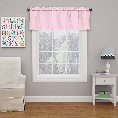 """Eclipse Microfiber Valance Curtain For Windows, Solid, Rod Pocket For Kitchen, Living Room, Bedroom, And Bathroom, Single Panel, 42"""" x 18"""", Pink"""