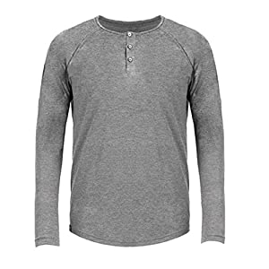Basic Classic Tri-Blend Long Sleeve Henley T-Shirt for Men