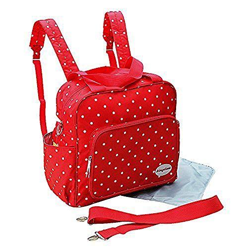 2 tlg Baby Rucksack Wickeltasche Pflegetasche Windeltasche Babytasche Reise Farbauswahl (rot)